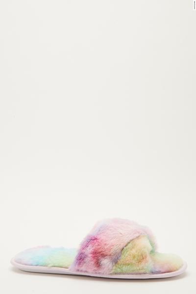 Multicoloured Fluffy Cross Slippers